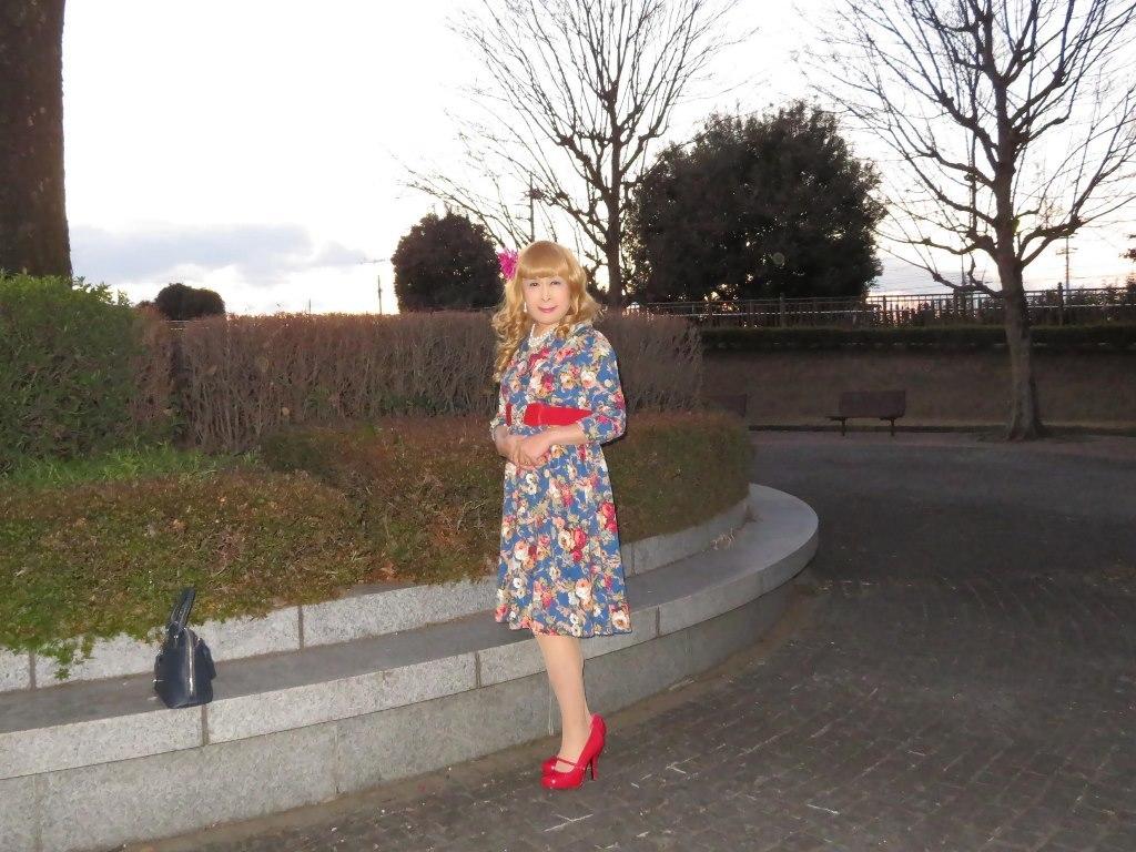 花柄ワンピ赤い靴D(6)