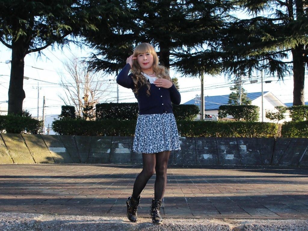 紺のカーディガンフレアースカートA(6)
