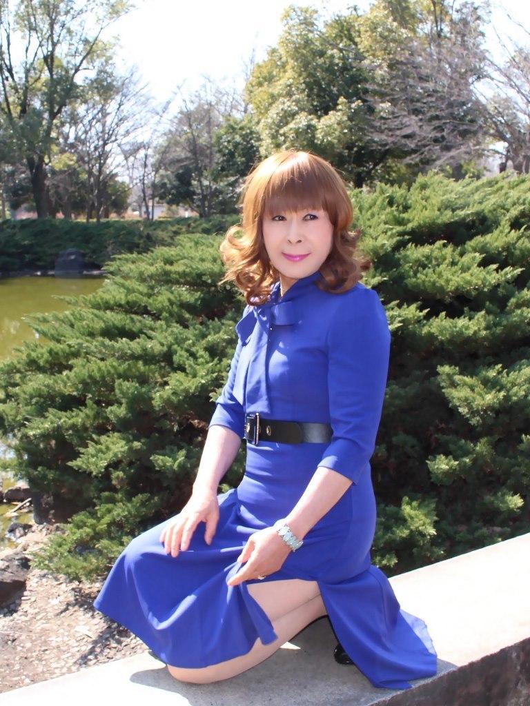 青色リボンワンピD(4)