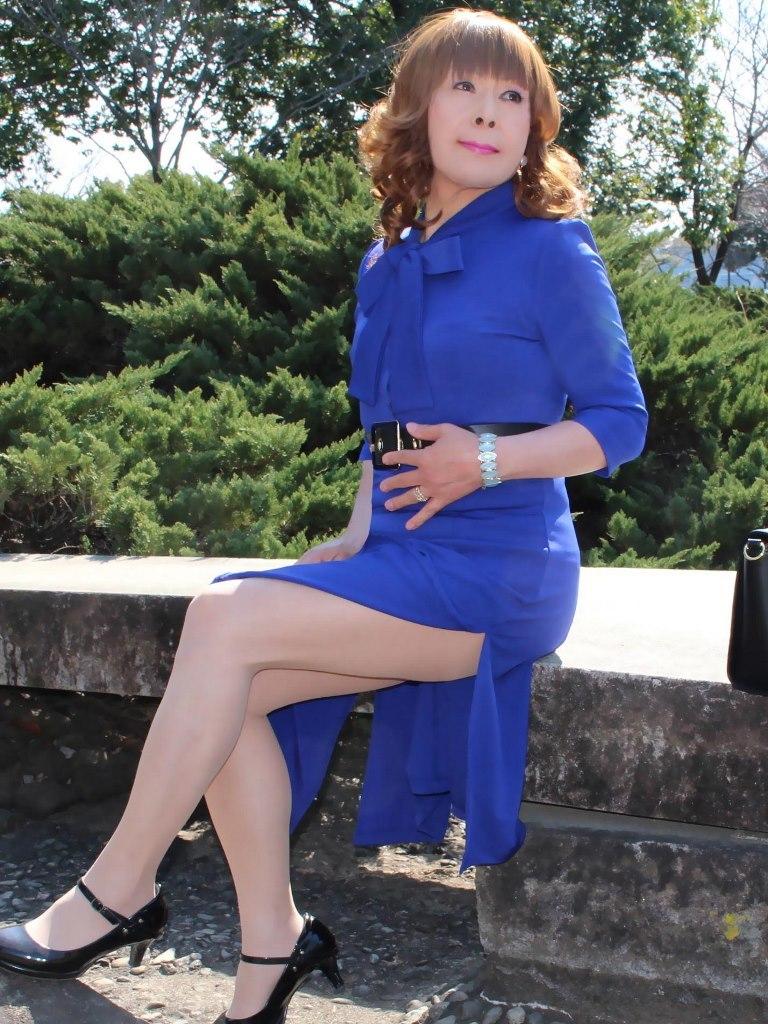 青色リボンワンピD(7)