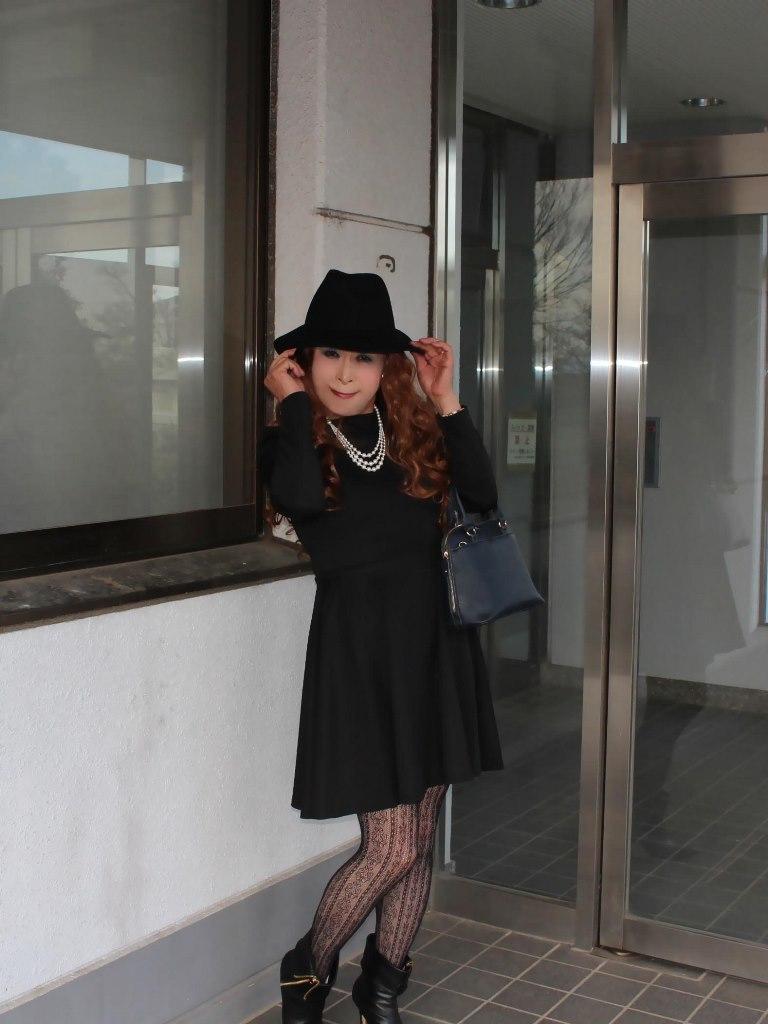 黒帽子黒フレアーワンピA(2)