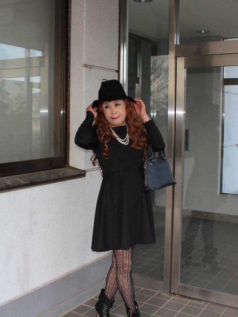 黒帽子黒フレアーワンピA(4)