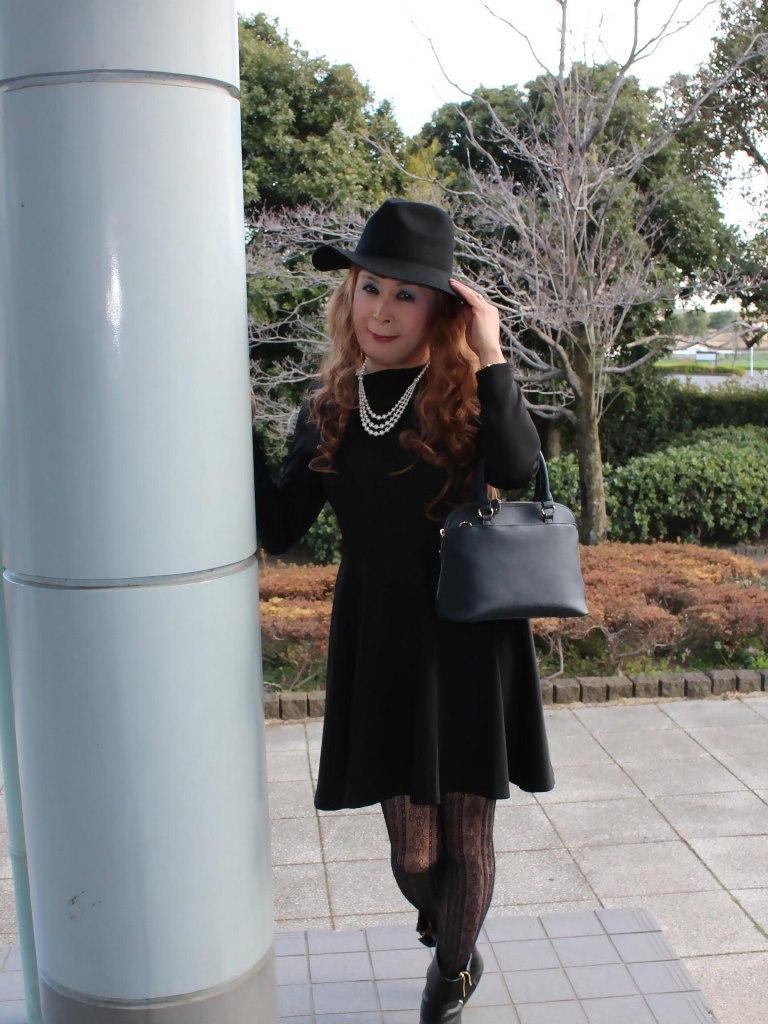 黒帽子黒フレアーワンピA(5)