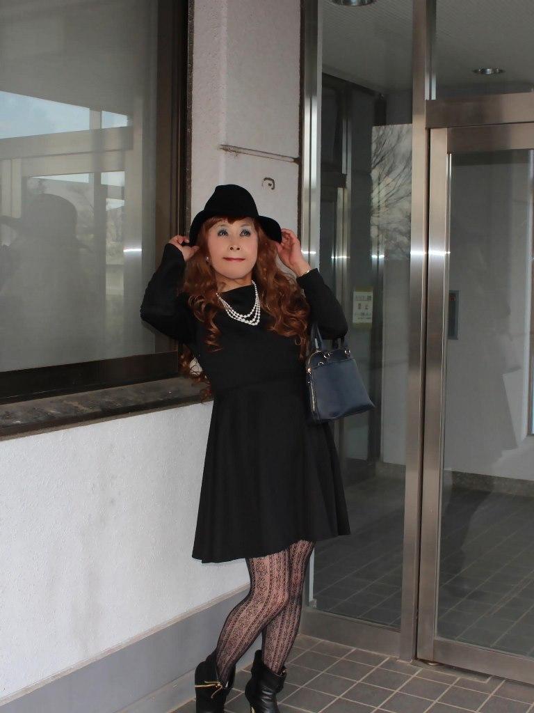 黒帽子黒フレアーワンピA(3)