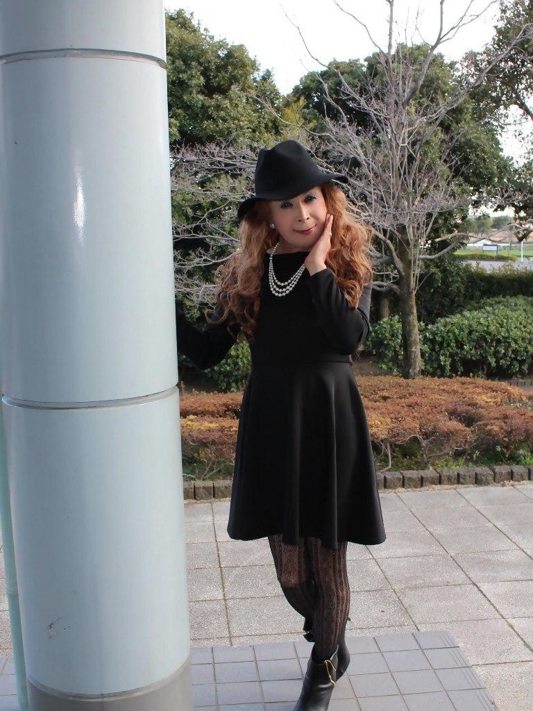 黒帽子黒フレアーワンピA(6)