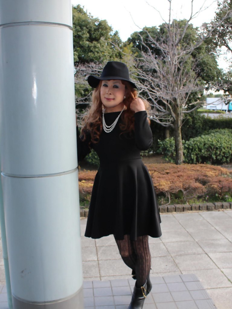 黒帽子黒フレアーワンピA(7)