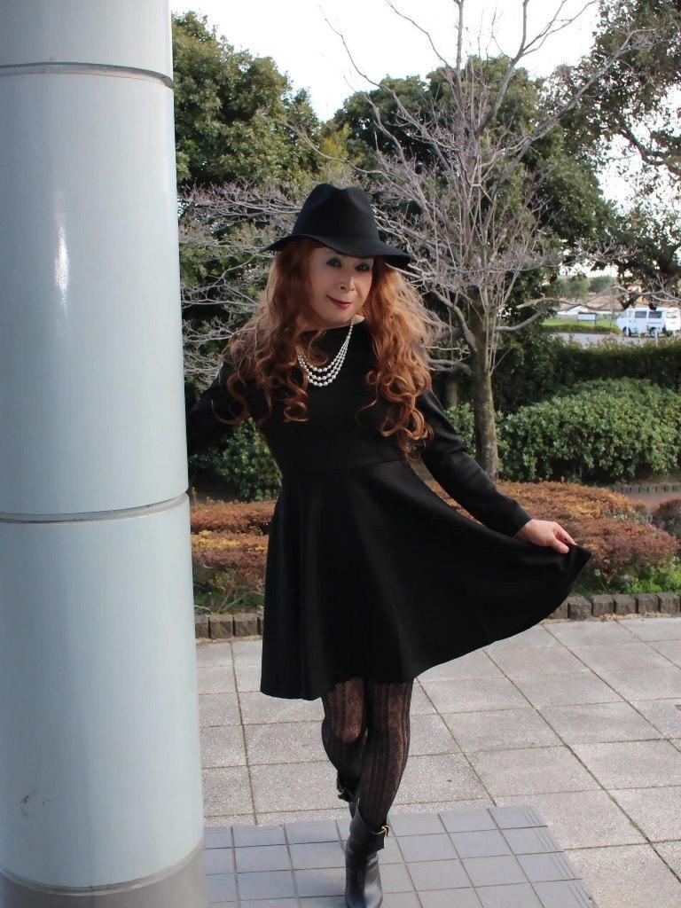 黒帽子黒フレアーワンピA(8)