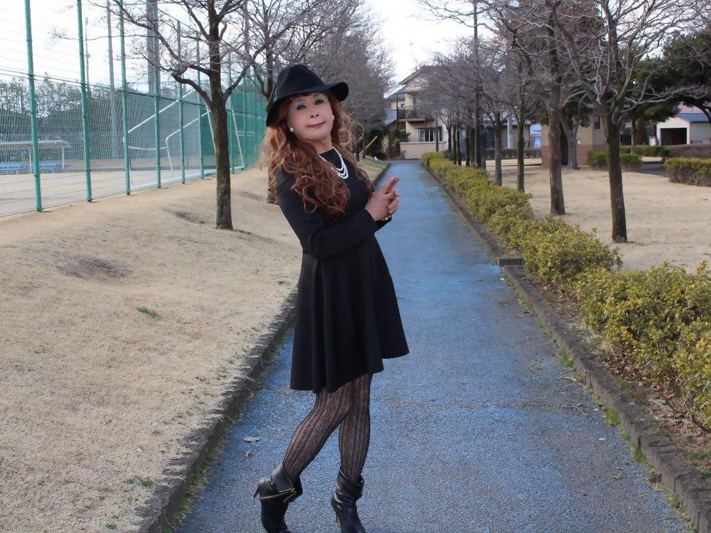 黒帽子黒フレアーワンピB(4)