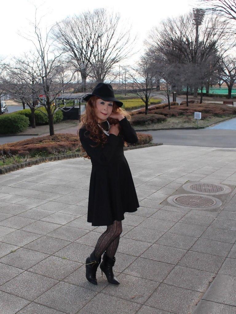 黒帽子黒フレアーワンピB(7)