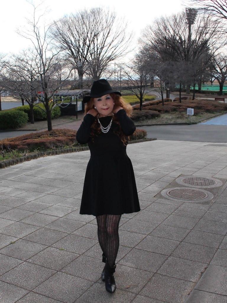 黒帽子黒フレアーワンピB(6)