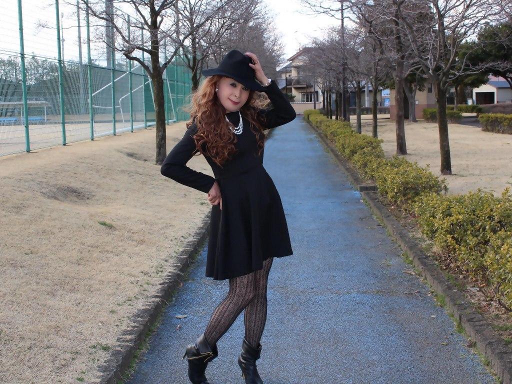 黒帽子黒フレアーワンピB(5)