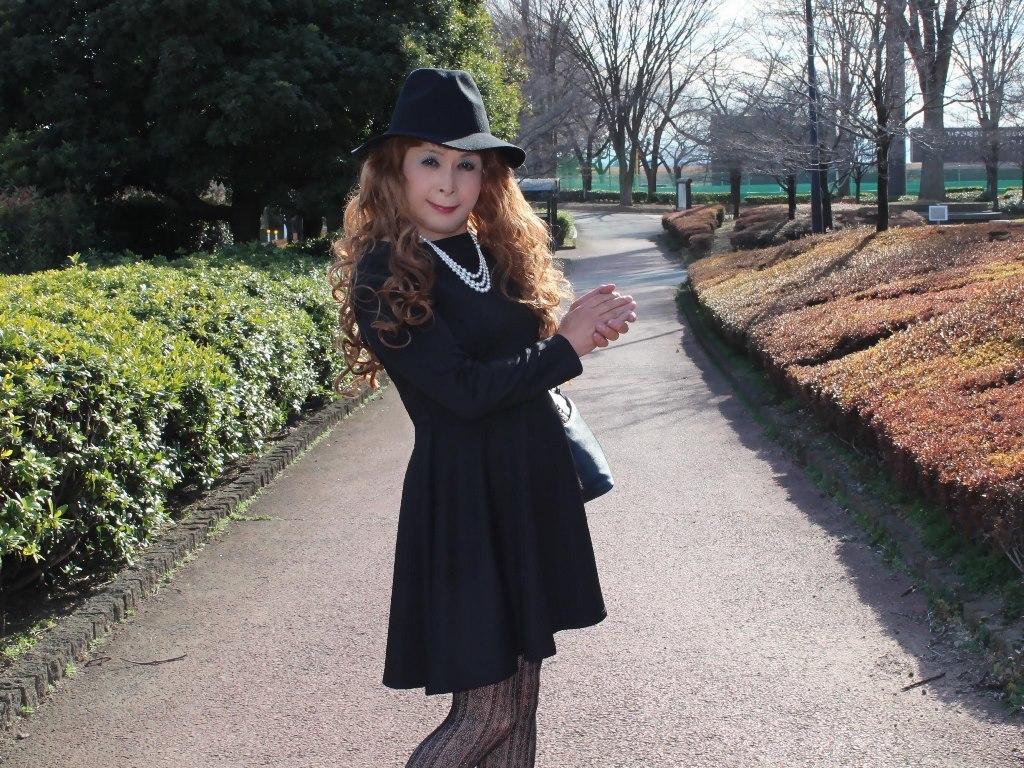黒帽子黒フレアーワンピC(3)