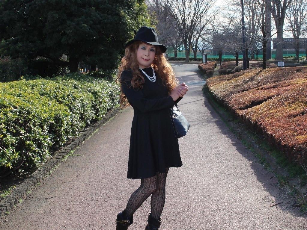黒帽子黒フレアーワンピC(5)