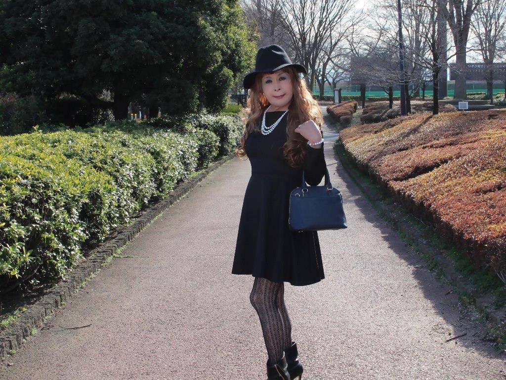 黒帽子黒フレアーワンピC(4)