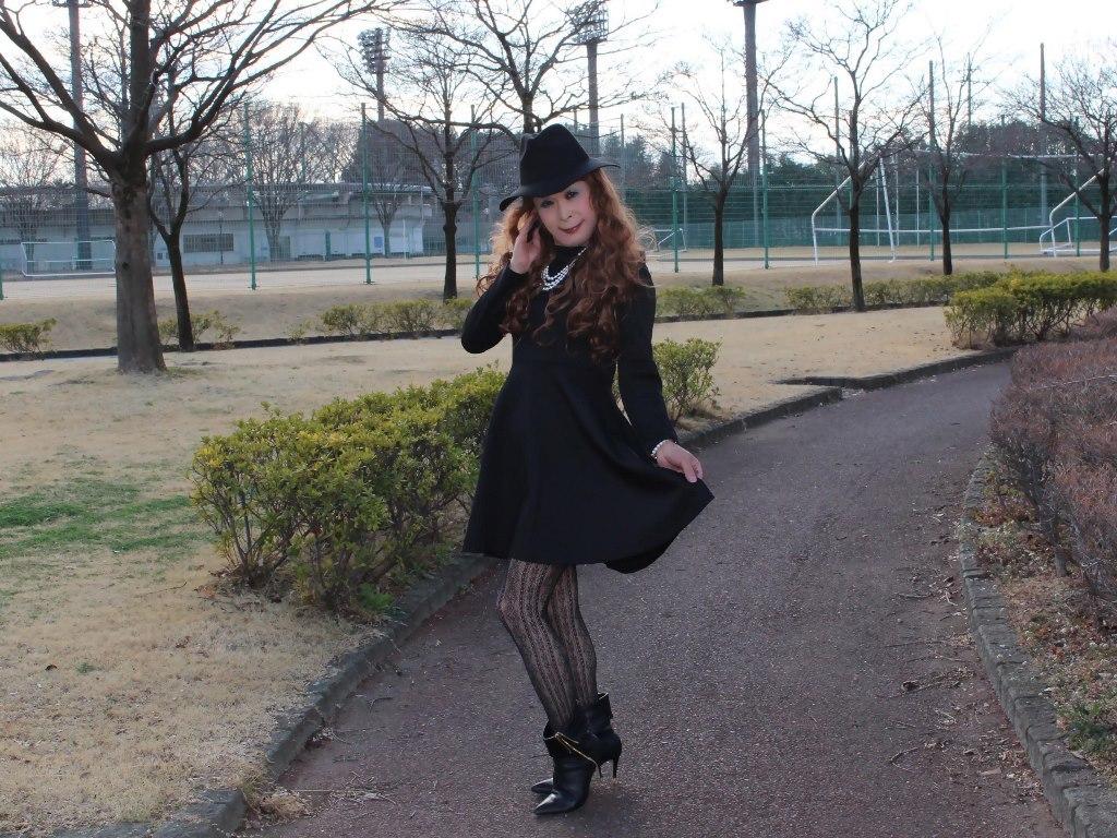 黒帽子黒フレアーワンピC(8)