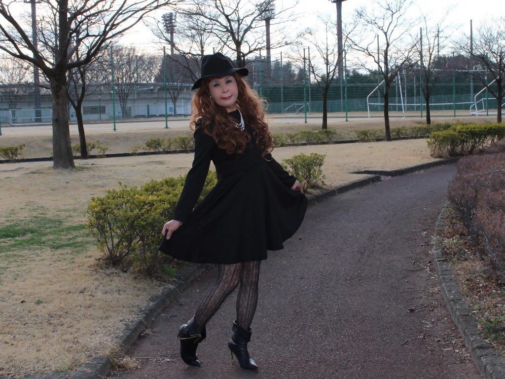 黒帽子黒フレアーワンピC(7)