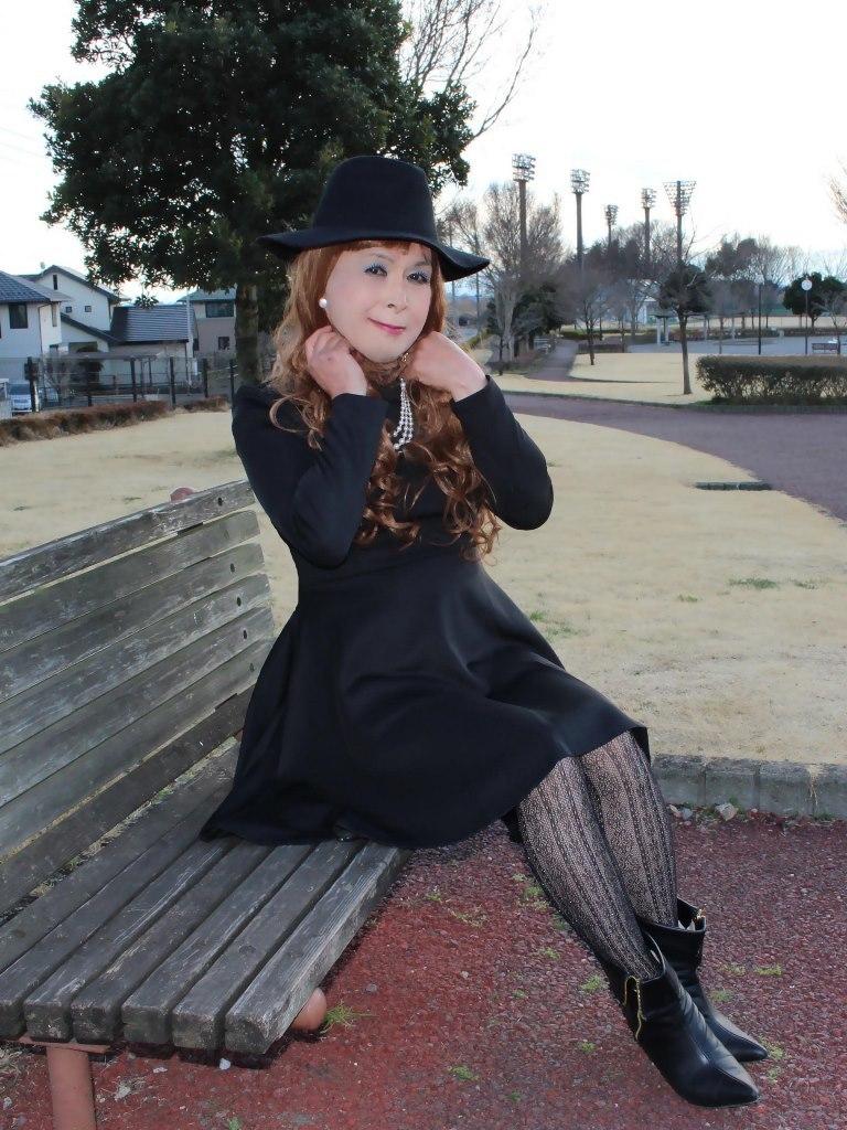 黒帽子黒フレアーワンピD(1)