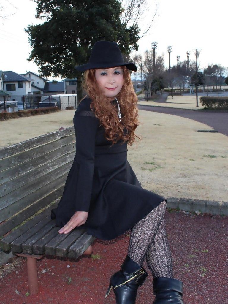 黒帽子黒フレアーワンピD(5)