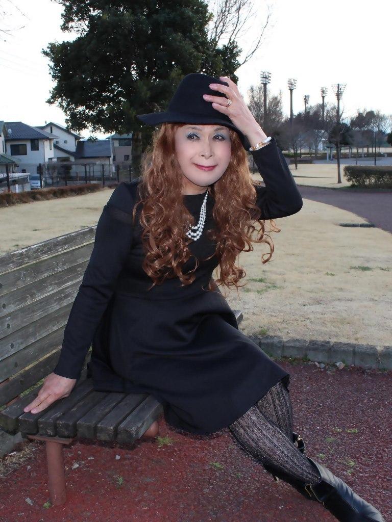 黒帽子黒フレアーワンピD(7)