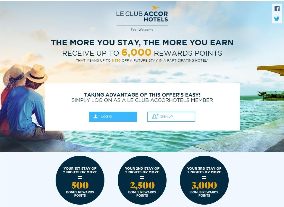 ル・クラブ・アコーホテル 最大6,000ボーナスポイントまでの宿泊キャンペーン