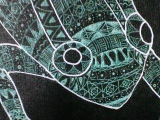 ゼンタングル風蛙Tシャツ アップ