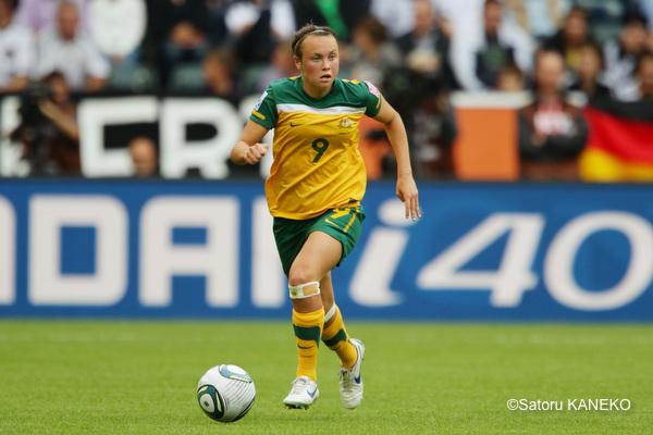 オーストラリア女子代表の仙台・ケイリントン・フォード。2011年6月撮影。写真の女子ワールドカップ2011ドイツ ブラジル戦で16歳で代表デビュー。