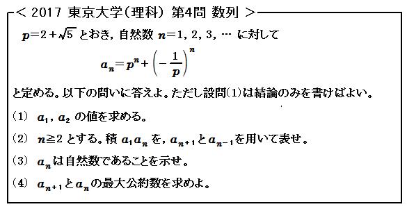 2017東京大学<理科>第4問 数列