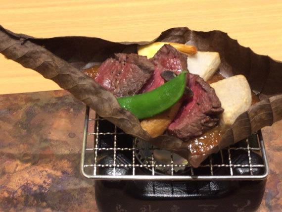 牛フィレ肉の朴葉焼き