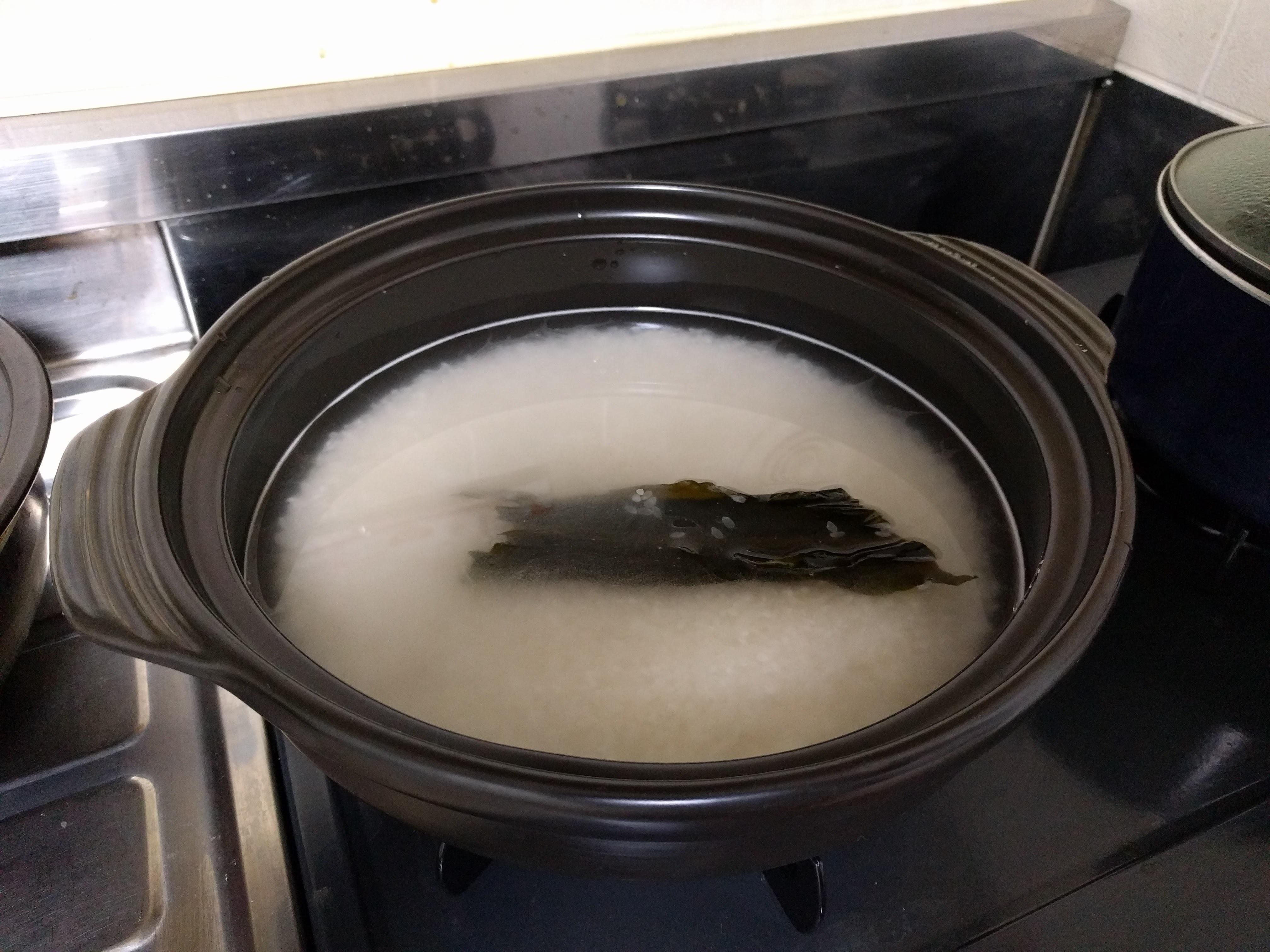 土鍋で炊飯準備状態