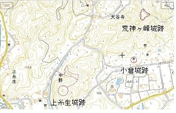上糸生城跡位置図