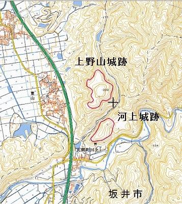 あわら市上野山城跡他位置図