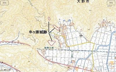 牛ヶ原城跡位置図