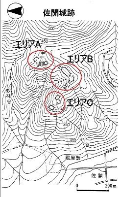 佐開城跡遺構模式図