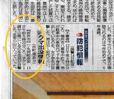 熊目撃情報(2017年4月15日付福井新聞)