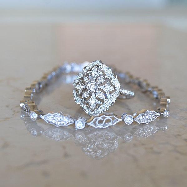 K18WG製ホワイトゴールドダイアモンドテニスブレスレットリング指輪
