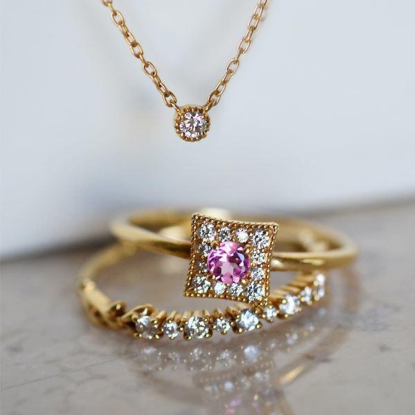 K18YG製ピンクトルマリン・ダイアモンドリング指輪ハーフエタニティバイザヤードタイプ一粒ペンダントネックレス