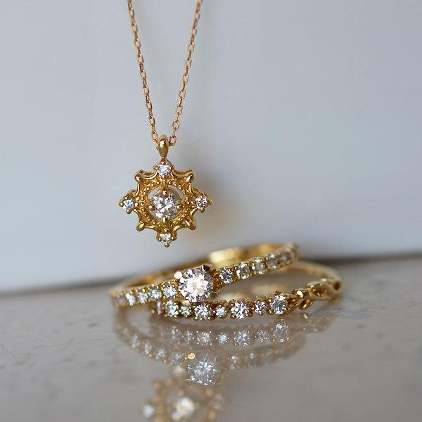 K18YG製ダイアモンドペンダントネックレスエンゲージリング婚約指輪ハーフエタニティリング