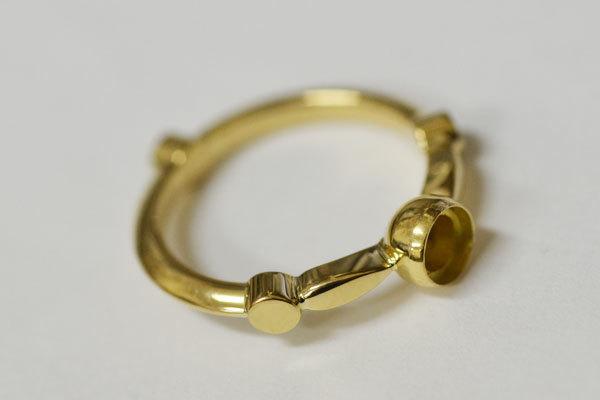ローズカットダイアモンド彫金リング指輪3