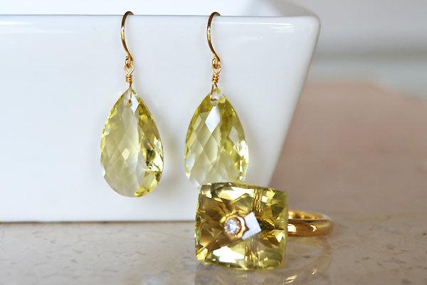 レモンクォーツピアスレモンクォーツダイアモンドリング指輪