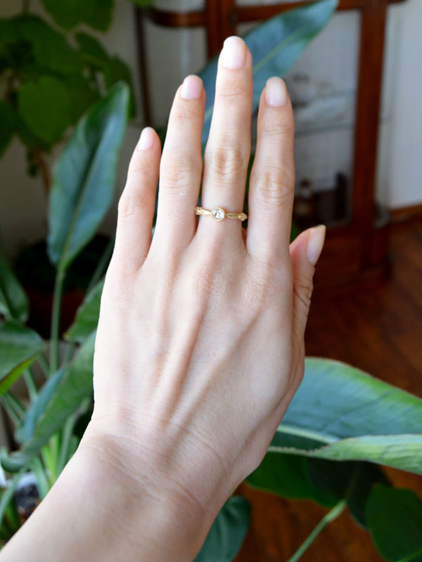 K18YG製イエローゴールド彫金手彫りローズカットダイアモンドリング指輪ハンドメイドハンドクラフト手作り加工作り変えリメイクリフォーム