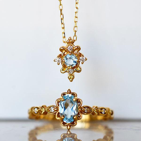 K18YG製アクアマリンダイアモンドペンダントネックレスブルートパーズダイアモンドリング指輪