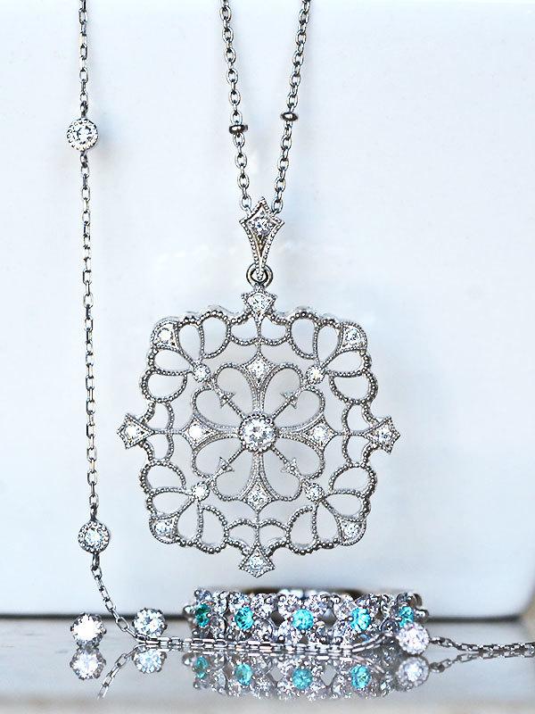 プラチナダイアモンドパライバトルマリンリングアンティークミル打ち指輪ダイアモンドブレスレットダイアモンドペンダントダイアモンドピアス