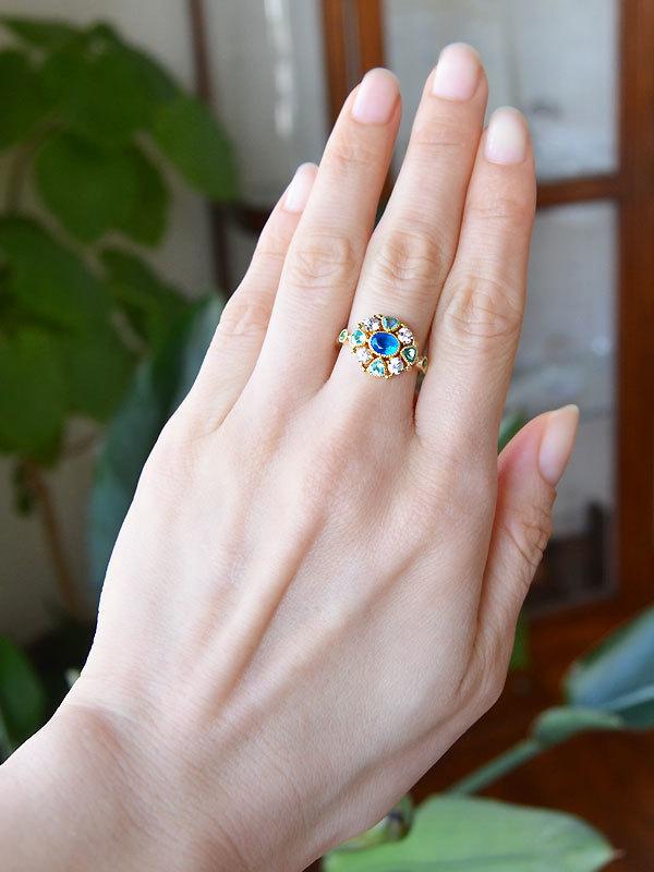 K18YG製イエローゴールドネオンブルーアパタイトアパタイトグリーンガーネットサファイアリング指輪手作り加工ハンドメイドハンドクラフトオーダーメイドジュエリー作り変えリメイクリフォーム