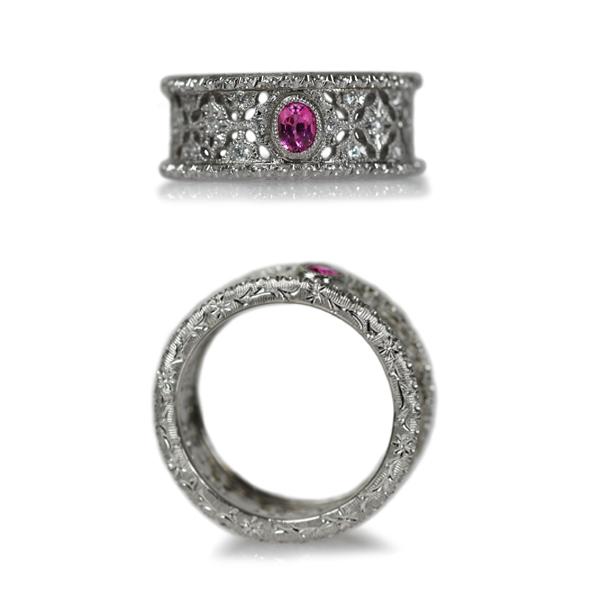 Pt900プラチナピンクゾイサイト彫金手彫りダイアモンドリング指輪手作り加工オーダーメイドジュエリー