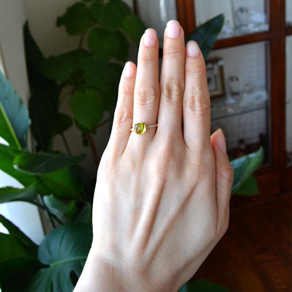 K18YG製イエローゴールドペリドットダイアモンドリング指輪