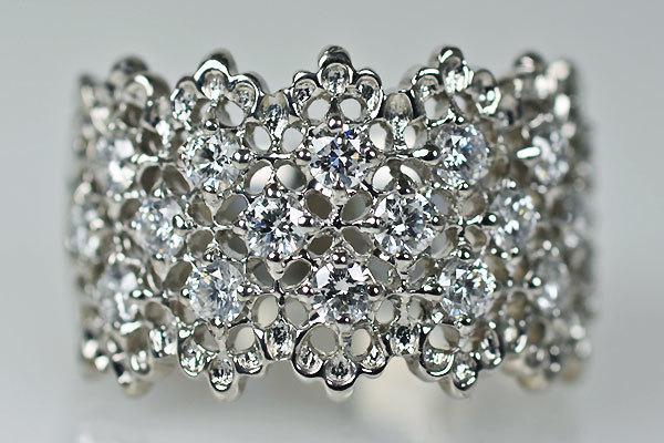 Pt900製ダイアモンドリング指輪ハニカム