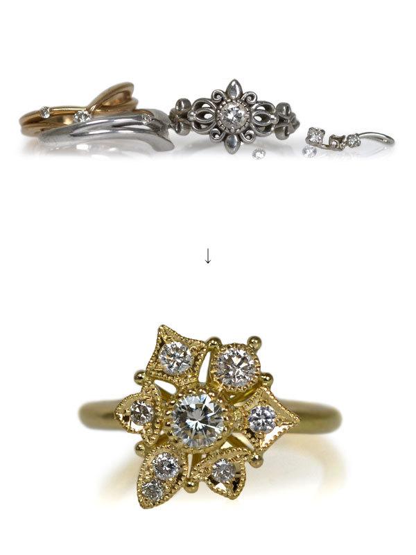 指輪ジュエリーダイアモンド作り変えリングリフォームリメイクオーダーメイドジュエリー手作り加工ハンドメイドハンドクラフト