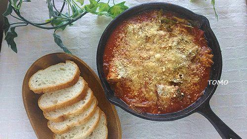 スキレット de キャベツとサバ味噌煮缶のトマト煮