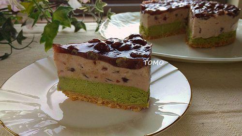 小豆と抹茶のチーズケーキ