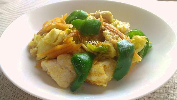キャベツと鶏胸肉のカレー炒め